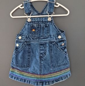 Old Navy denim overall dress rainbow embroidery